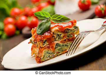 Homemade Lasegne with Ricotta Cheese and Spinach - delicious...