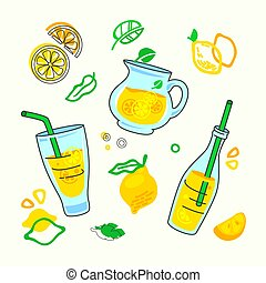 Homemade Lemonade Drink Print with Different Design Elements in Doodle Style, Bottle with Juice and Straw, Glass Carafe, Lemon Fruits Slices on White Background. Creative Ornament Vector Illustration