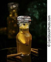 homemade lemonade with cinnamon on the table