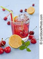 Homemade lemonade with fresh fruits