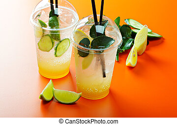 Homemade lemonades and fruits