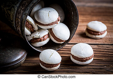 Homemade macaroons with chocolate filling