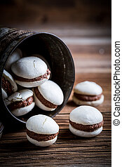 Homemade macaroons with nut filling