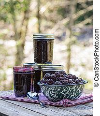 Homemade marionberry jam or preserves - Jars of homemade...