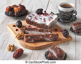 Homemade marmalade sweets with date fruits and nuts, eastern...