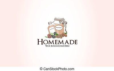 homemade marmelade fruit jam logo graphic illustration