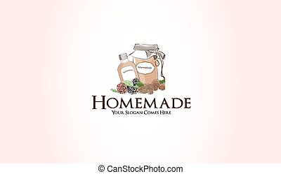 homemade marmelade fruit jam logo graphic illustration