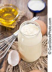 Homemade Mayonnaise - Portion of homemade Mayonnaise on an...