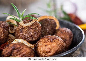 Homemade Meatballs in a pan - Homemade Meatballs with herbs ...