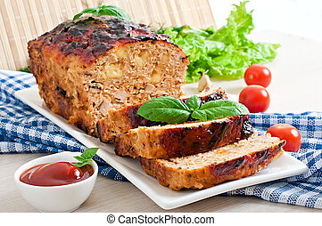 Homemade meatloaf - Homemade ground meatloaf with ketchup...