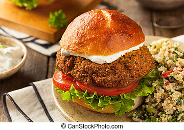 Homemade Mediterranean Falafel Burger with Tzatziki Sauce