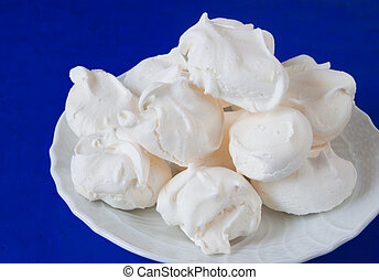 Homemade meringue cookies made with egg white and sugar