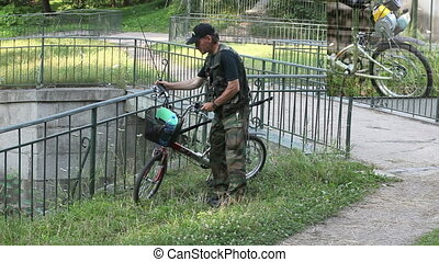 homemade moped - homemade, bicycle with a motor of the...
