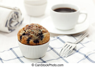Homemade muffin  - Blueberry muffin with coffee