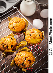 Homemade muffins with baking ingredients