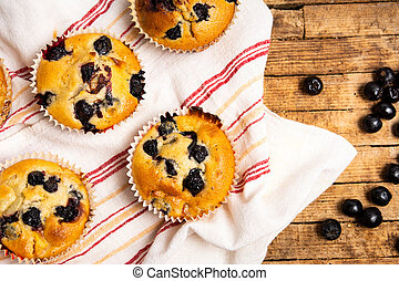 Homemade muffins with berry fruit