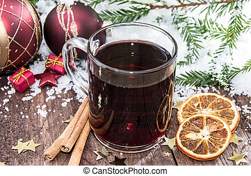 Homemade mulled wine with christmas decoration