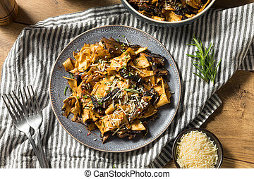 Homemade Mushroom Pappardelle Pasta with Rosemary and Cheese