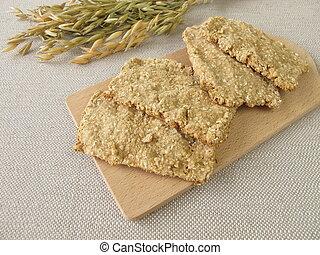 Homemade oats crispbread