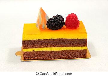orange chocolate cake on white background