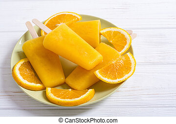 Homemade orange popsicle