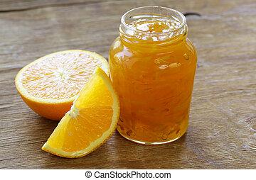 homemade organic orange marmalade jam with orange zest