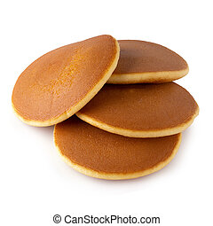 Homemade pancakes isolated on a white background.