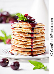 Homemade Pancakes With Cherry Topping - Bunch of homemade ...