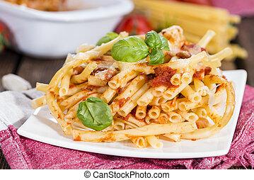 Homemade Pasta Bake - Portion of homemade Pasta Bake (with...