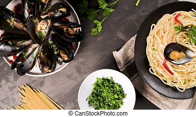 Homemade pasta spaghetti with mussels , peppers and parsley...