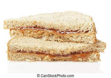 Homemade Peanut Butter and Jelly Sandwich - Fresh Homemade...