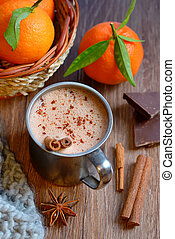 Homemade Peppermint Hot Chocolate on old wooden table