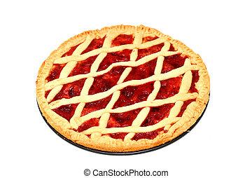 Homemade strawberry pie over white