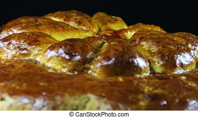 Homemade Pie Rotates on a Black Background