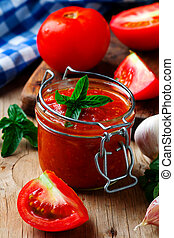Homemade Pizza sauce in the glass jar