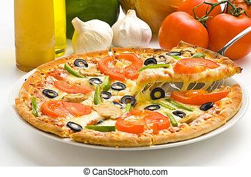 homemade pizza with fresh tomato olive mushroom cheese ...