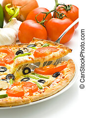 homemade pizza with fresh tomato olive mushroom cheese isolated