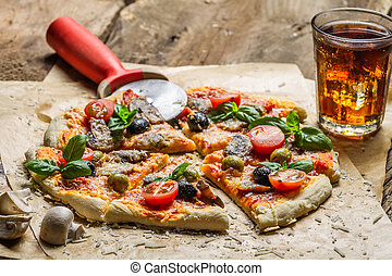 Homemade pizza with mushrooms