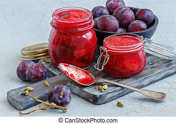 Homemade plum jam with cardamom.