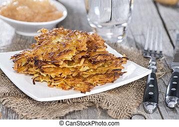 Potato Fritters - Homemade Potato Fritters on vintage ...