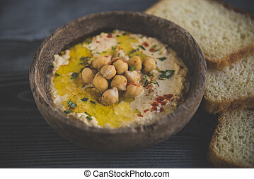 Homemade prepared humus in the bowl