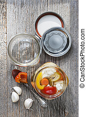 Homemade preserved vegetables - Home preserving mixed...