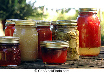 Homemade Preserves - Homemade preserves sitting on a rustic...