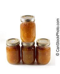 Homemade Preserves - Jars full of homemade apple butter...