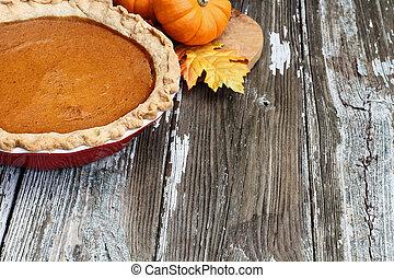 Homemade Pumpkin Pie in Red Dish