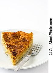 Homemade pumpkin pie on a plate