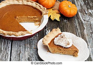 Homemade Pumpkin Pie Slice with Whiiped Cream