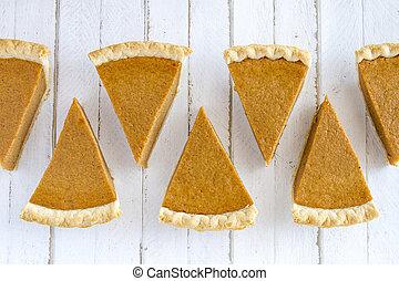 Homemade Pumpkin Pie Slices - 7 slices of homemade pumpkin...