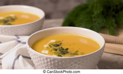 Homemade pumpkin soup - Delicious creamy homemade pumpkin...