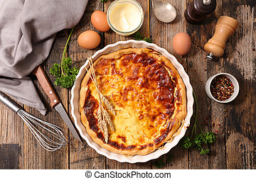 homemade quiche with cream, cheese and bacon